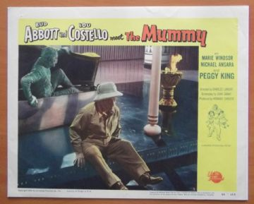 Abbott and Costello Meet the Mummy, Original Lobby Card, Monster sneaking behind Lou!! '55